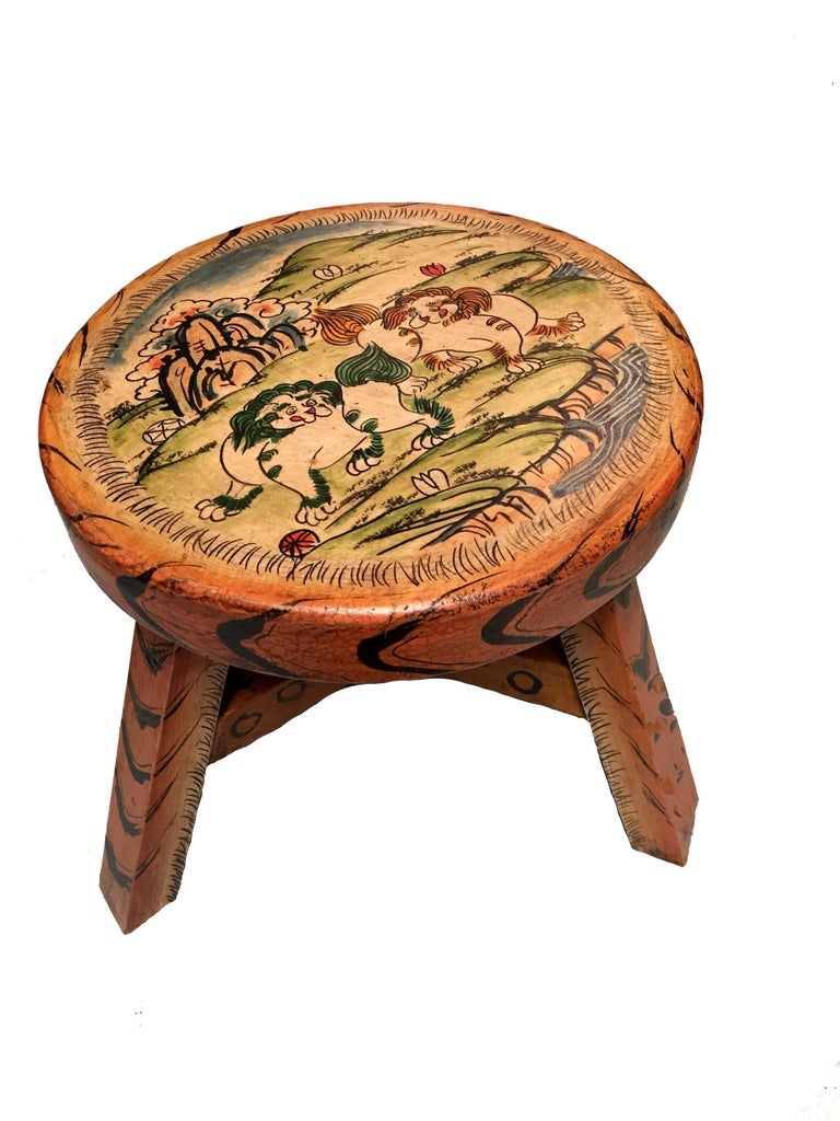Beautiful hand-painted stools feature deer and foo dogs. Deer symbolizes peace and harmony. Foo Dogs are guardians for safety and security. Each stool is very well-made, is strong and sturdy.