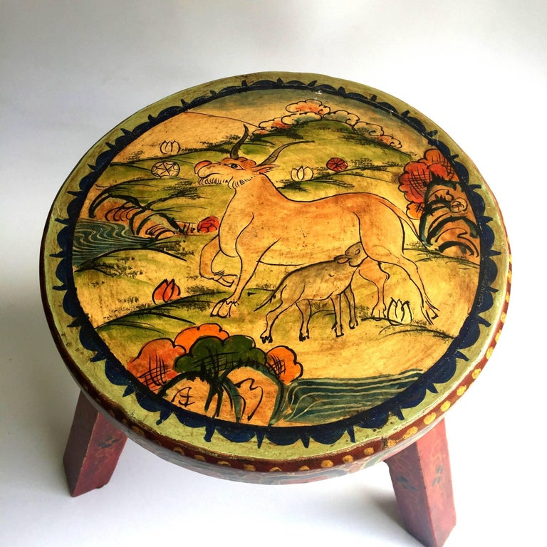 Pair of Tibetan Stools, Hand-Painted For Sale 5