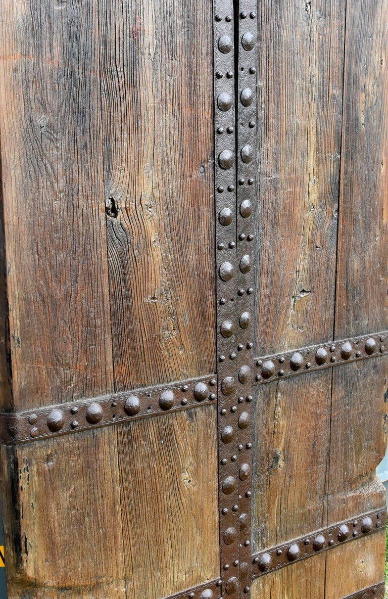 Antique Wooden Doors With Ironwork Substantial Chinese