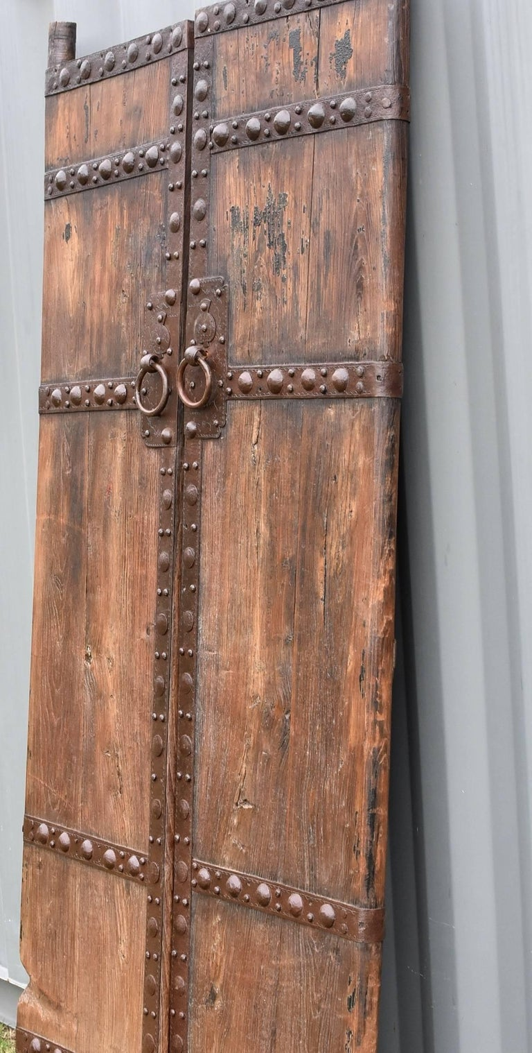 Antique Wooden Doors with Ironwork, Substantial, Chinese Rustic ...