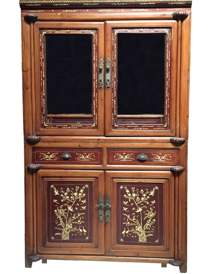 Antique bone inlaid cabinet chinese glass curio circa for Antique asian cabinet