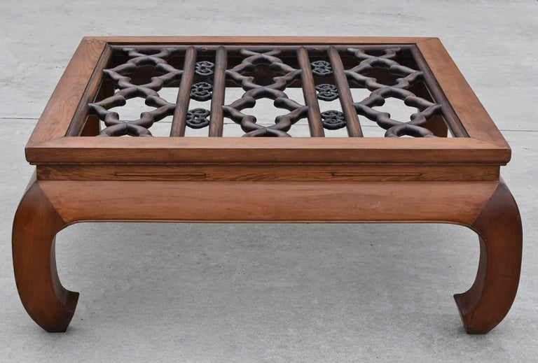 Large Asian Square Coffee Table with Antique Screen, Banana Legs For Sale 1