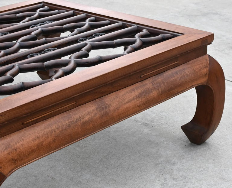 Large Asian Square Coffee Table with Antique Screen, Banana Legs For Sale 3