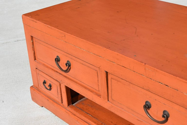 Orange Asian Low Chest Tv Stand Solid Wood For Sale At