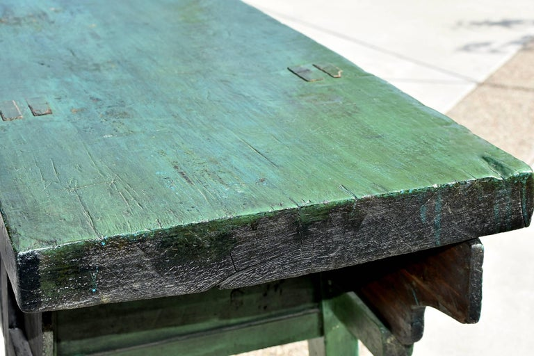 green rustic antique farm table  single board  sliding doors at 1stdibs
