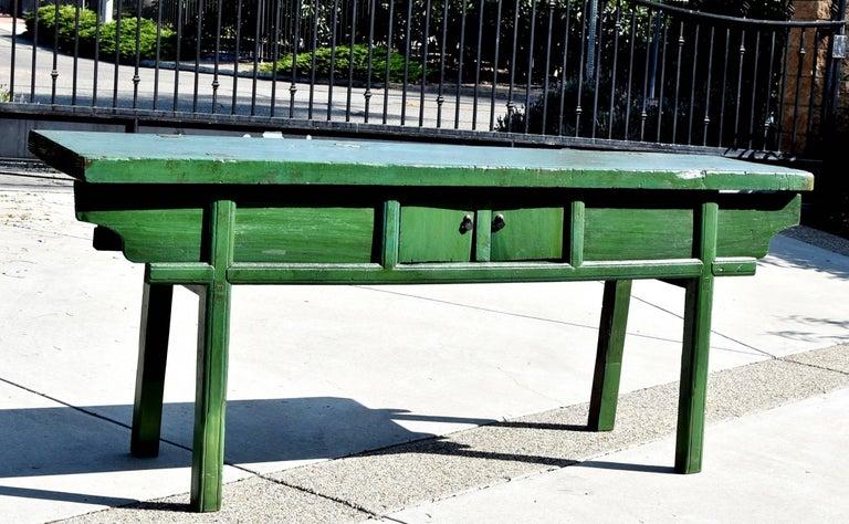 green rustic antique farm table  single board  sliding