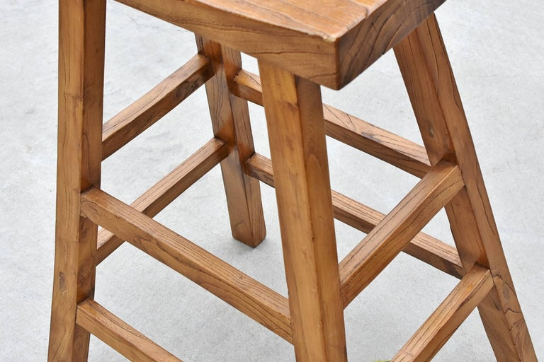 Pair of Asian Solid Elm Wood Bar Stools In Excellent Condition For Sale In Somis, CA