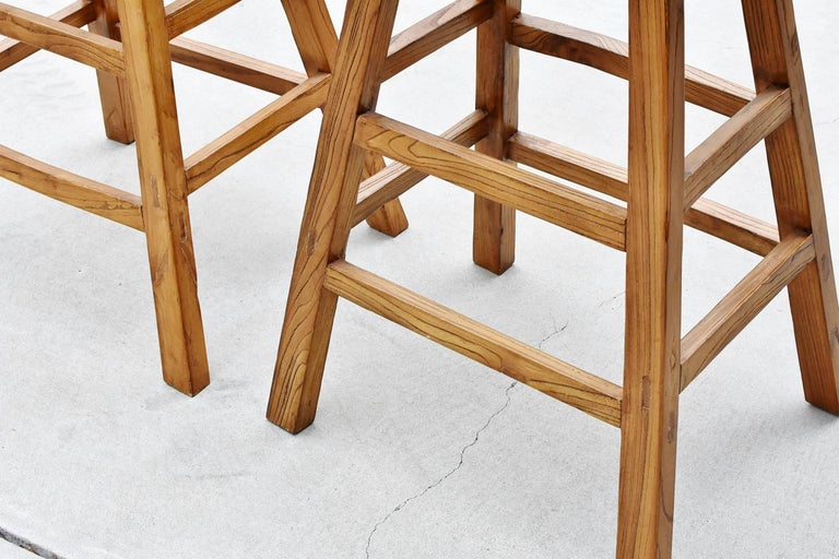 Pair of Asian Solid Elm Wood Bar Stools For Sale 1