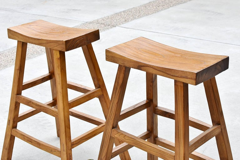 Pair of Asian Solid Elm Wood Bar Stools For Sale 2