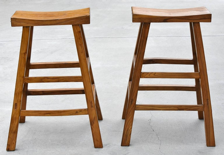 Chinese Pair of Asian Solid Elm Wood Bar Stools For Sale