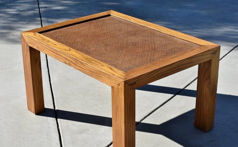 Natural Finish Parsons Table With Rattan Top At 1stdibs