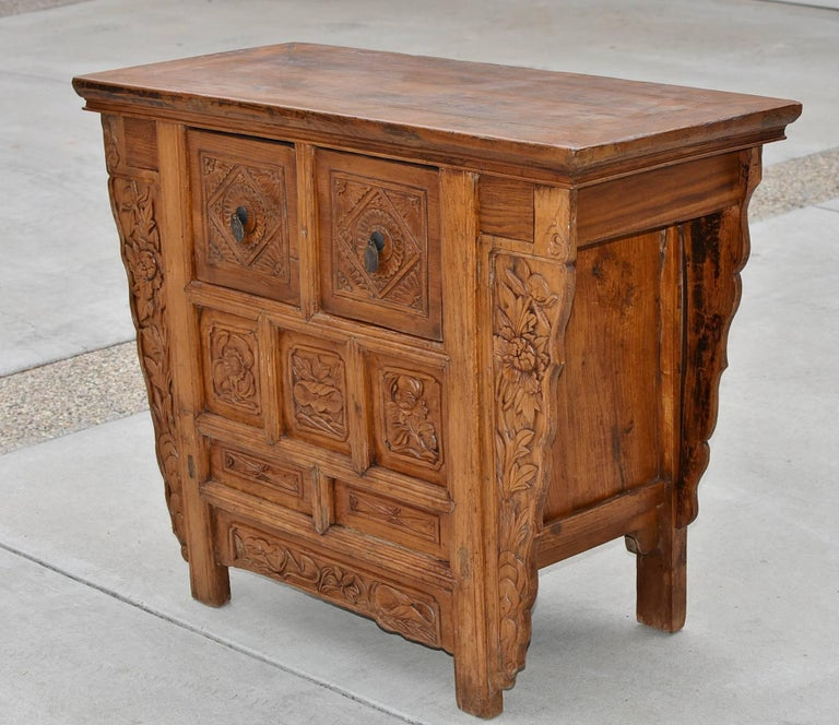 Hand-Carved 19th Century Chinese Country Chest with Secret Drawers For Sale