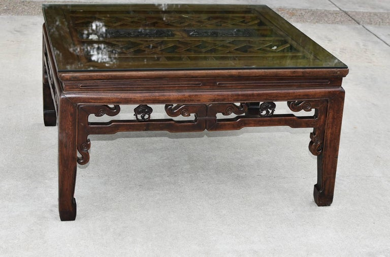square asian coffee table with antique longevity screen at 1stdibs