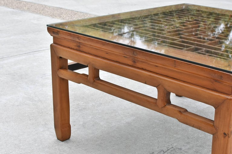 square asian coffee table with antique lattice screen at 1stdibs