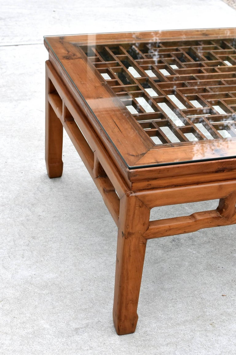 Square Asian Coffee Table With Antique Lattice Screen At