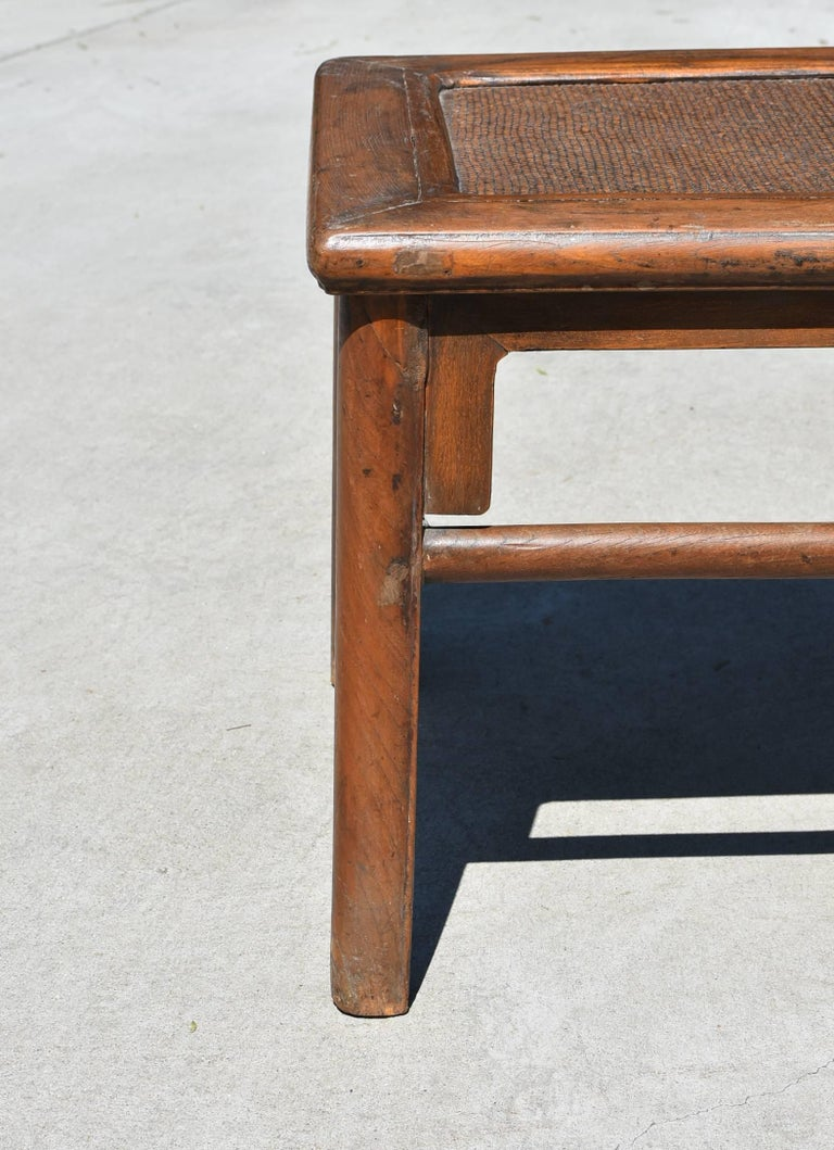 Joinery Antique Rattan Top Stool Low Table For Sale