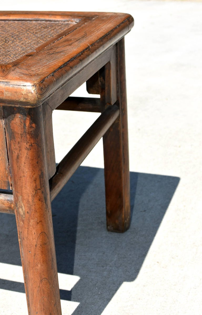 19th Century Antique Rattan Top Stool Low Table For Sale
