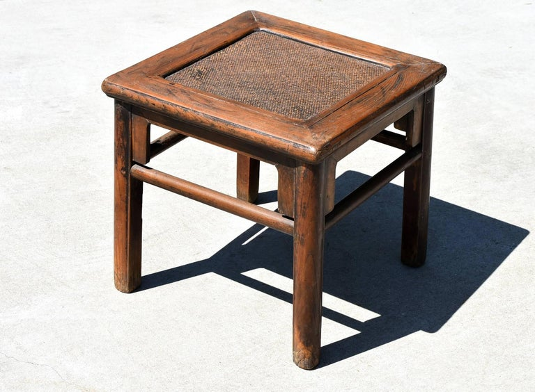 Wood Antique Rattan Top Stool Low Table For Sale
