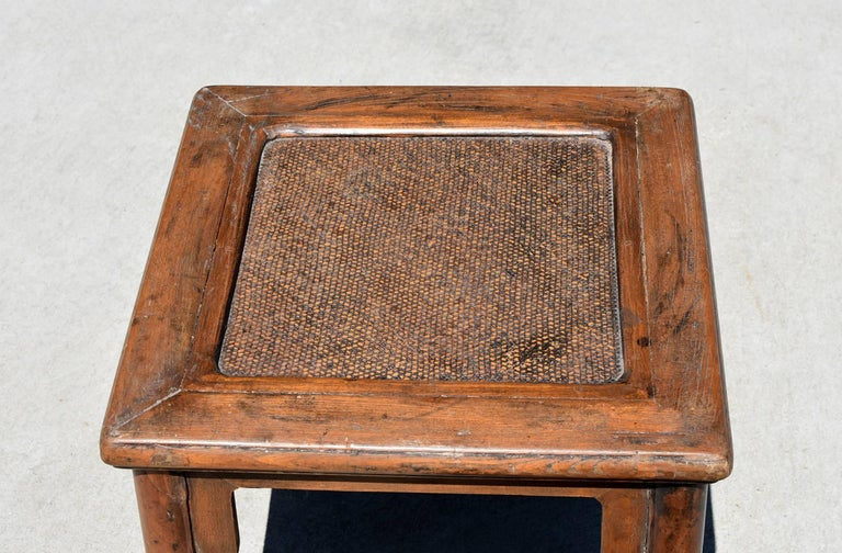 Chinese Antique Rattan Top Stool Low Table For Sale