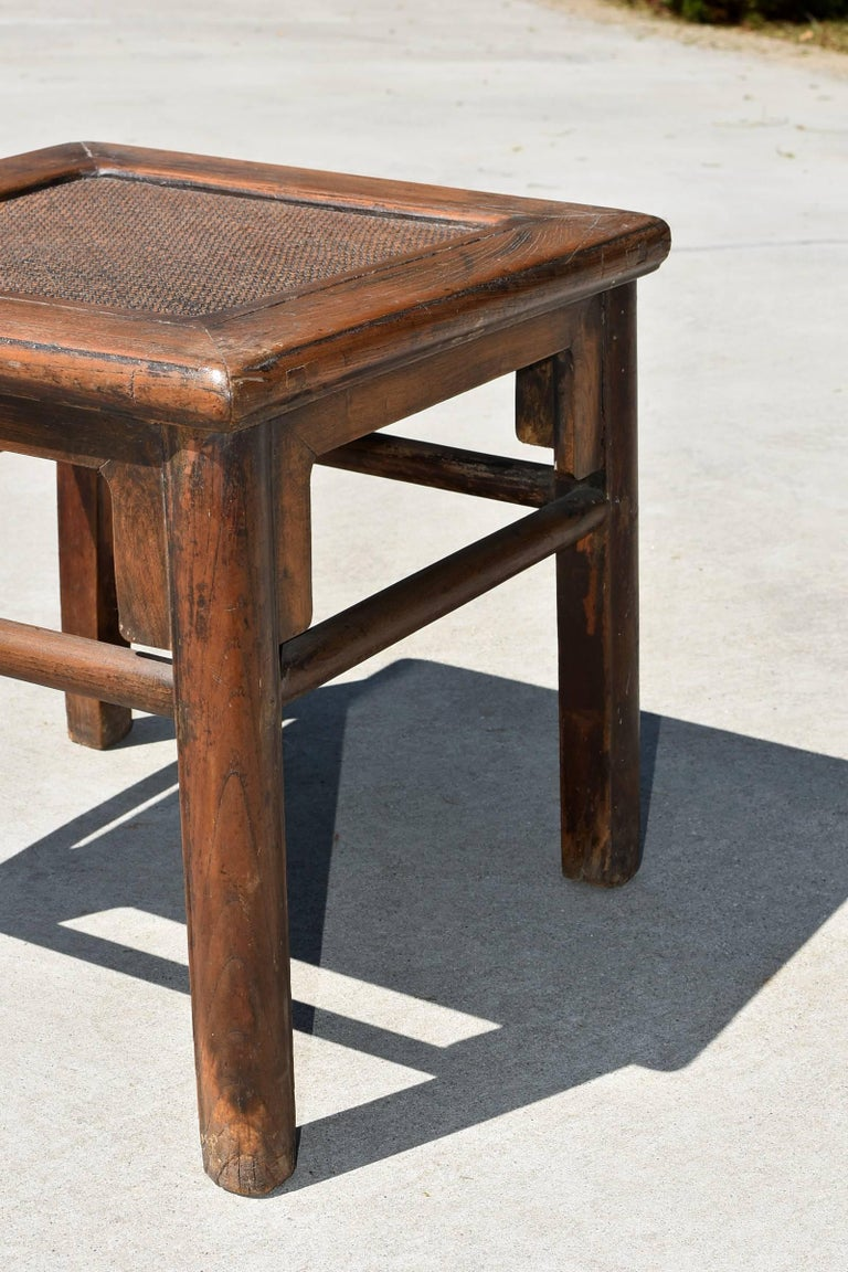 Antique Rattan Top Stool Low Table For Sale 1
