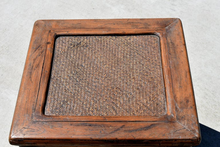 Antique Rattan Top Stool Low Table For Sale 3