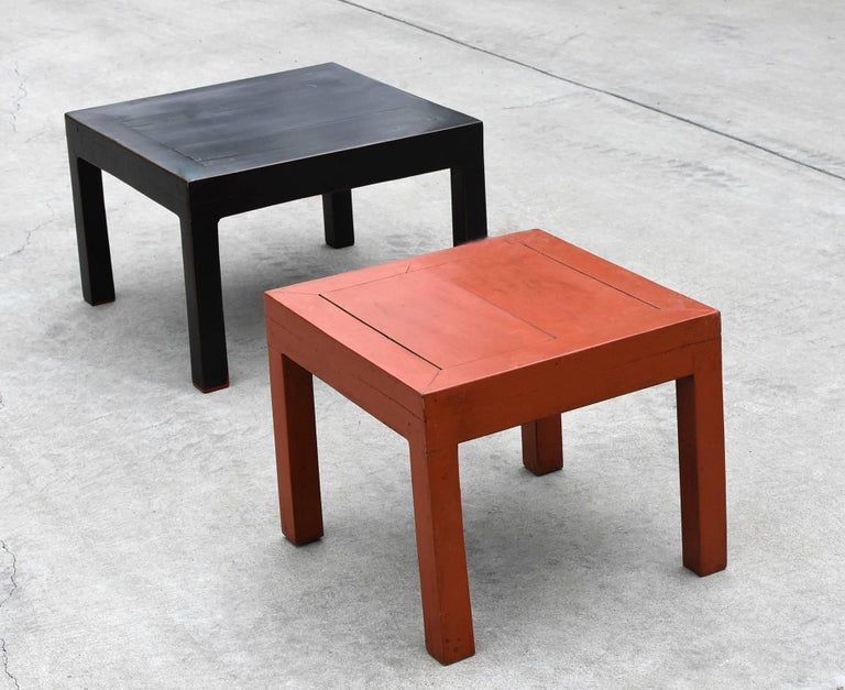 Chinese Orange and Black Two Parsons Tables Stools For Sale