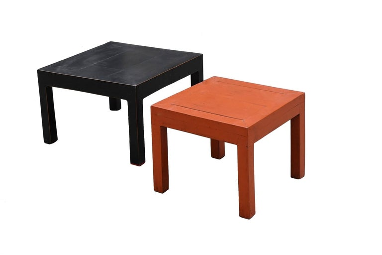 Orange and Black Two Parsons Tables Stools For Sale 3