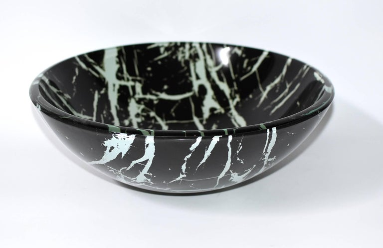 Chinese Black and White Glass Sink with Marble Pattern For Sale