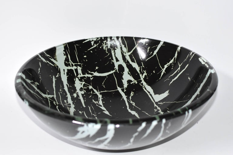 Black and White Glass Sink with Marble Pattern For Sale 2