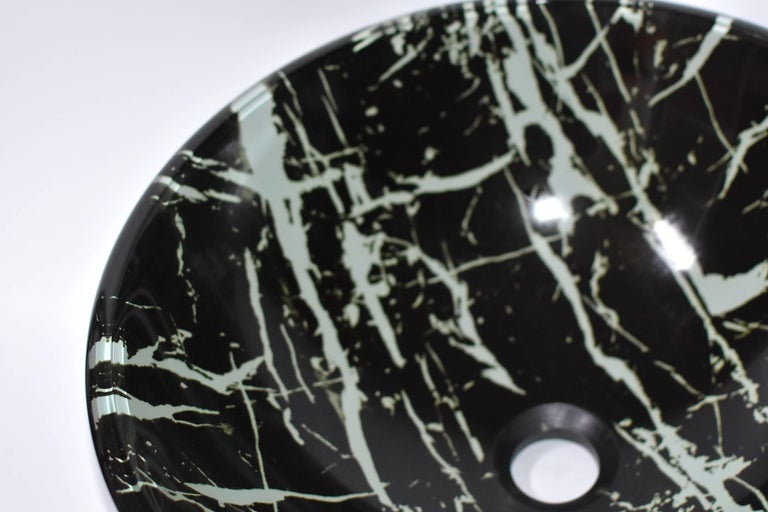 Black and White Glass Sink with Marble Pattern For Sale 5