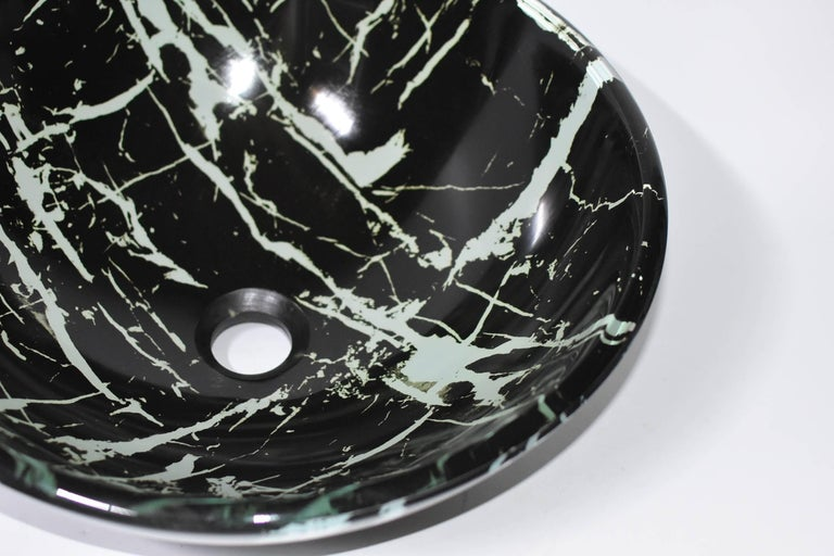 Black and White Glass Sink with Marble Pattern For Sale 6