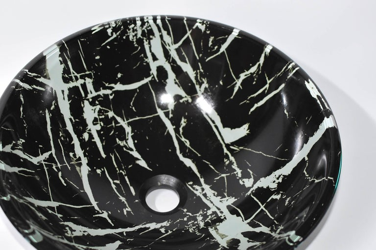 Black and White Glass Sink with Marble Pattern In Excellent Condition For Sale In Somis, CA