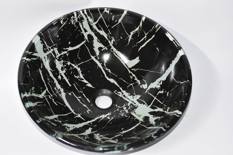 Black and White Glass Sink with Marble Pattern For Sale 4