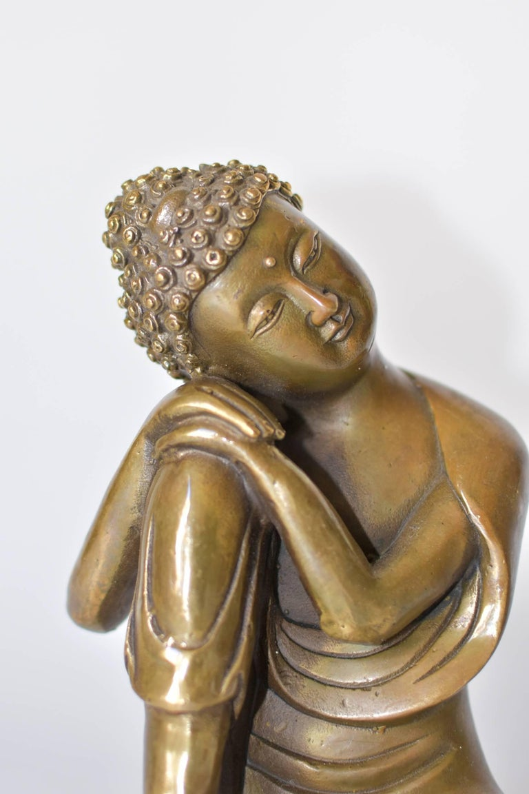 Brass Buddha Statue, a Thinking Buddha In Excellent Condition For Sale In Somis, CA