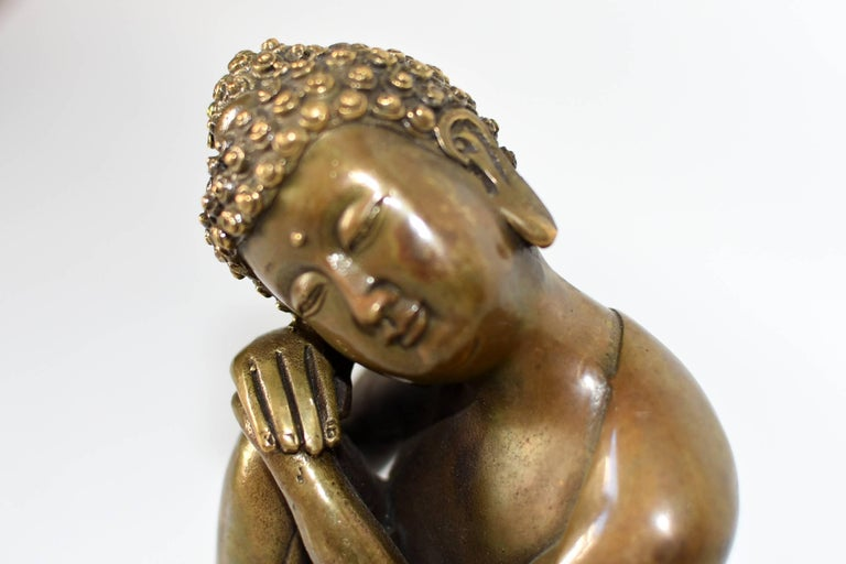 Contemporary Brass Buddha Statue, a Thinking Buddha For Sale
