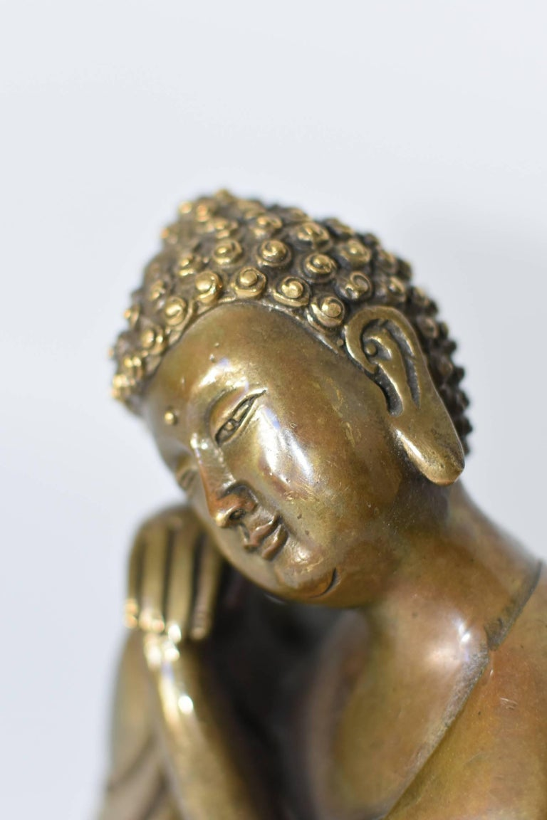 Brass Buddha Statue, a Thinking Buddha For Sale 2