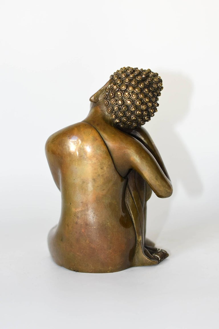 Brass Buddha Statue, a Thinking Buddha For Sale 3