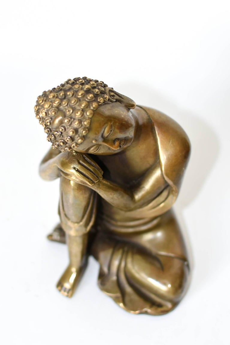 Brass Buddha Statue, a Thinking Buddha For Sale 5
