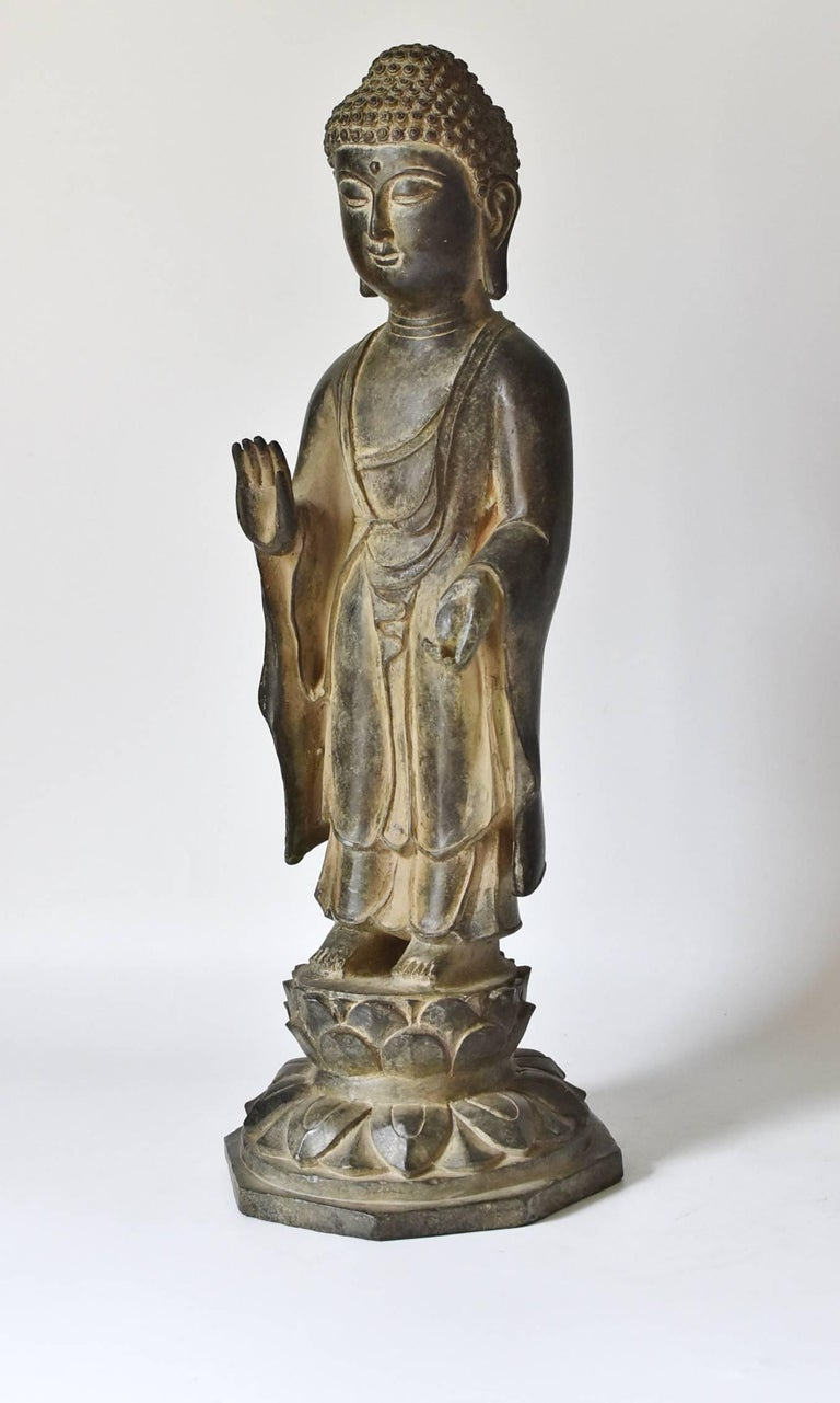 Tang Bronze Standing Buddha Statue For Sale
