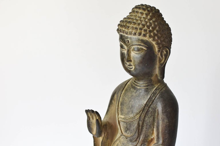 Chinese Bronze Standing Buddha Statue For Sale