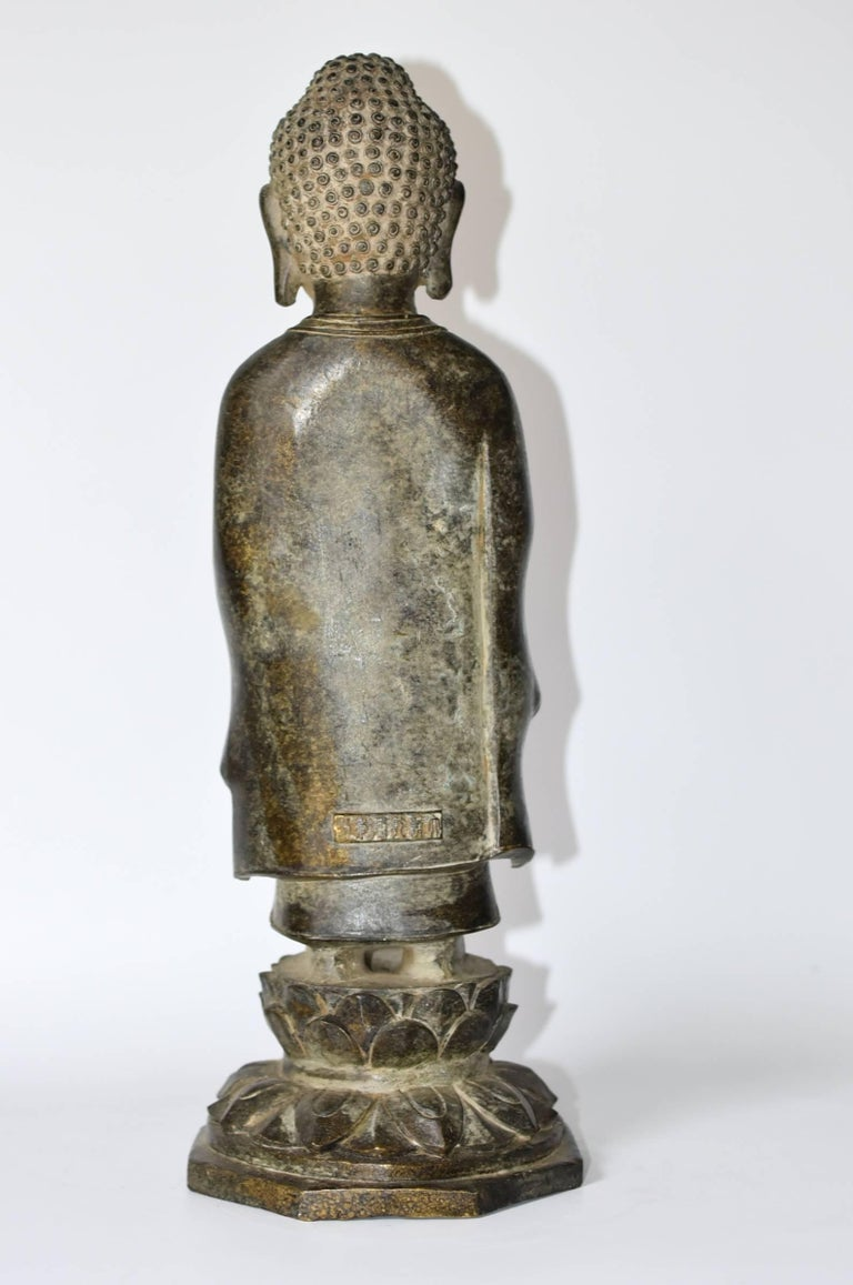Bronze Standing Buddha Statue In Excellent Condition For Sale In Somis, CA