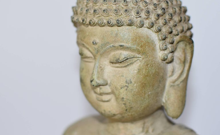 Large Pale Green Bronze Buddha Statue For Sale 1