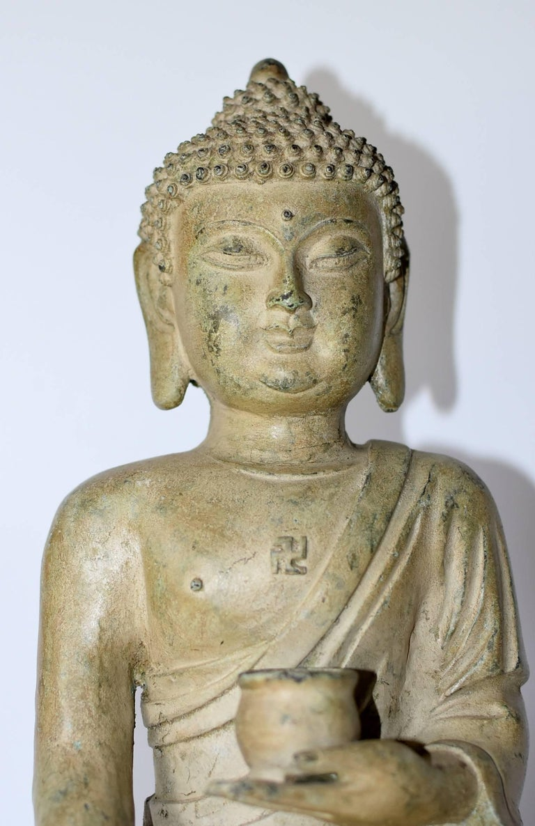 Large Pale Green Bronze Buddha Statue In Excellent Condition For Sale In Somis, CA