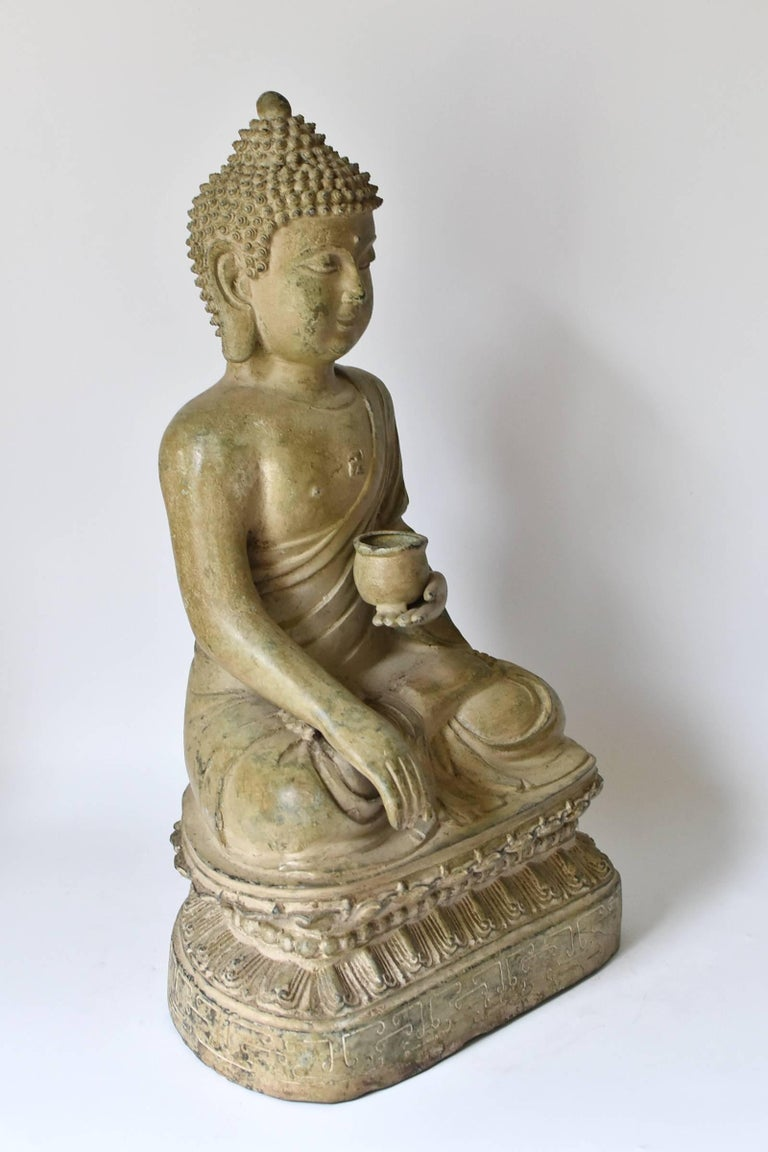 Tang Large Pale Green Bronze Buddha Statue For Sale