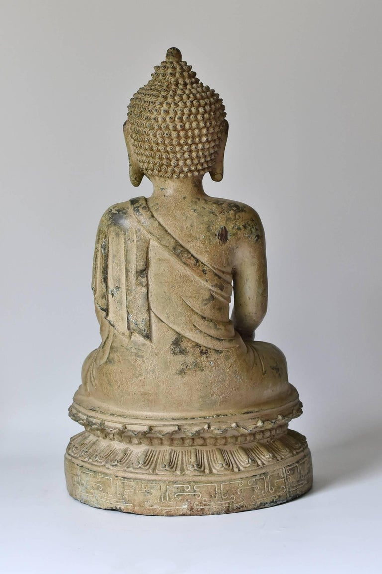 Large Pale Green Bronze Buddha Statue For Sale 2