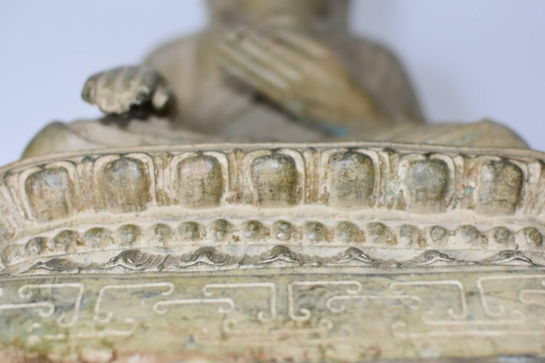 Large Pale Green Bronze Buddha Statue For Sale 4