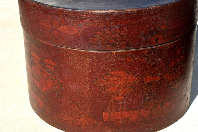 Chinese Pair of Antique Round Boxes For Sale