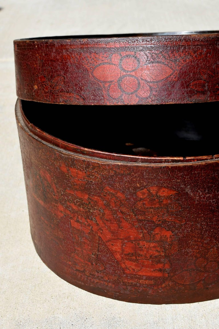 Bamboo Pair of Antique Round Boxes For Sale