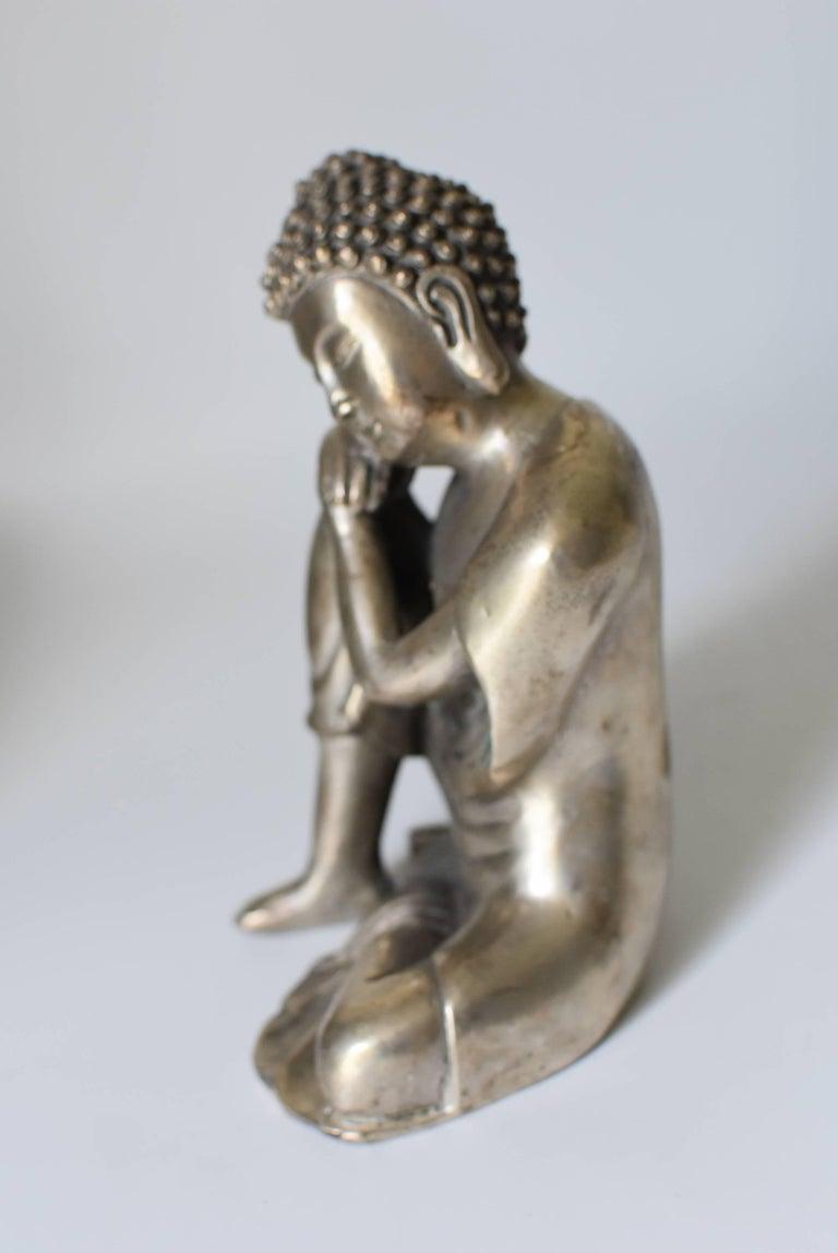 Silvered Brass Buddha Statue, a Thinking Buddha For Sale 4