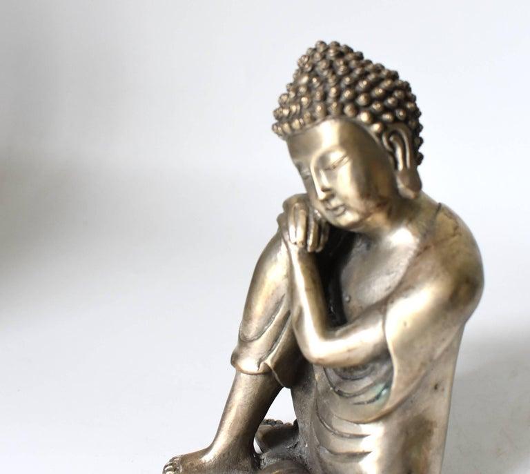 Chinese Silvered Brass Buddha Statue, a Thinking Buddha For Sale